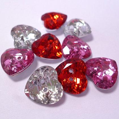 Diamond Heart Buttons x9
