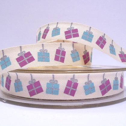 NEW Cotton Christmas Ribbon :: Lilac & Blue presents