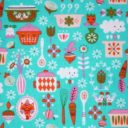 Fabric :: Vintage Kitchen :: Teal Main