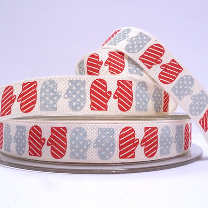 NEW Cotton Christmas Ribbon :: Red & Grey Mittens