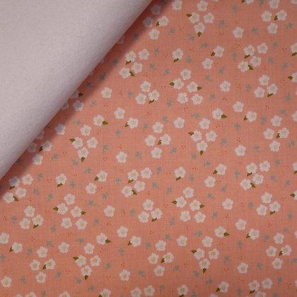 Fabric Felt :: Azure Skies :: Blush Flowers on White