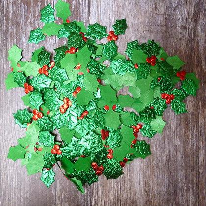Holly Leaves & Berries :: Metallic