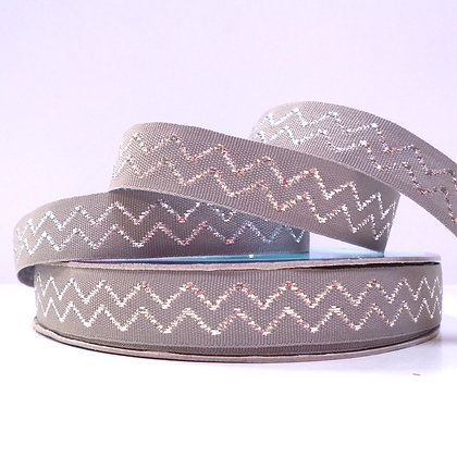Natural Metallic Ribbon :: Chevron :: Grey