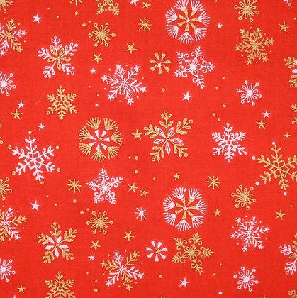 Fabric :: Skogen :: Gold Snowflakes