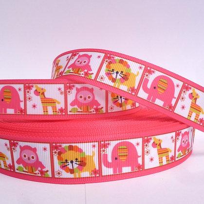 Cute Grosgrain Ribbon :: Pink Animal Squares