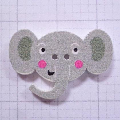 Wooden Elephant Face Button :: Grey