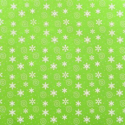 Spiral Snowflake Printed Felt Square :: Lime