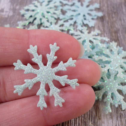 Glittery Snowflakes :: Blue :: pack of 24