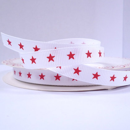 Bertie Bows Ribbon :: Red Star on White