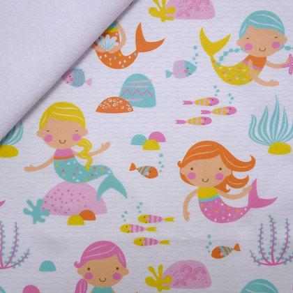 Artisan Fabric Felt :: Mermaids and Fish on White