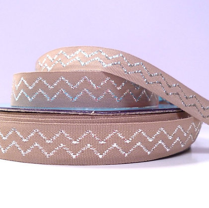 Natural Metallic Ribbon :: Chevron :: Biscuit
