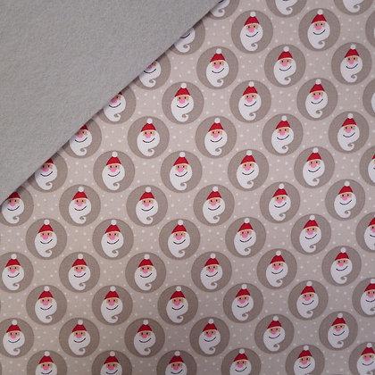 Fabric Felt :: Copenhagen Grey Santas on Silver Grey LAST FEW