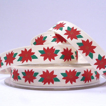 NEW Cotton Christmas Ribbon :: Poinsetta