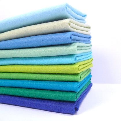 Blues & Greens MIX Premium Wool Felt Colour Pack
