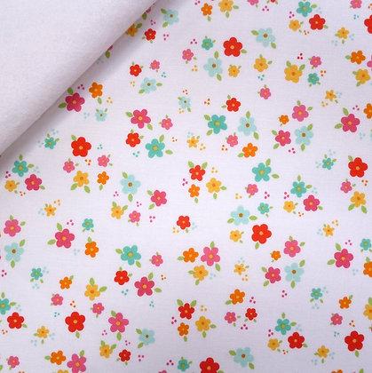 Fabric Felt :: Bloom Where Planted :: Flower Garden on White LAST FEW