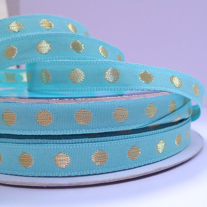 Gold Dot Ribbon :: Aqua