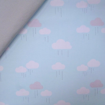 Fabric Felt :: When Skies Are Grey :: Blue Clouds on Silver Grey