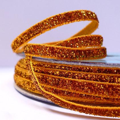 5mm Glitter Velvet Ribbon :: Disco Gold