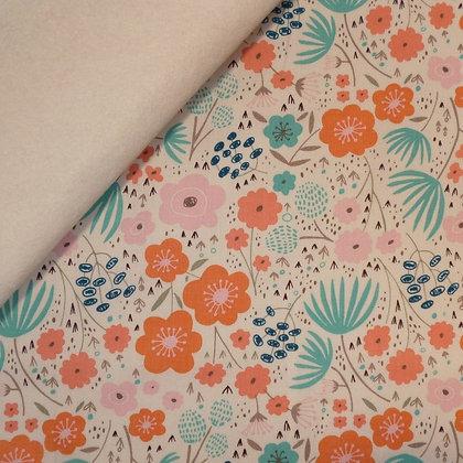 Fabric Felt :: Ava Rose :: Large Cream Flowers on Natural