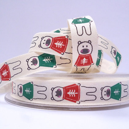 NEW Cotton Christmas Ribbon :: Polar Bears in Jumpers