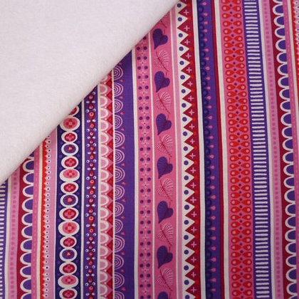 Fabric Felt :: Forever Magic :: Pink & Purple Folk Stripes on White