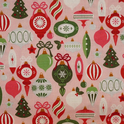 Fabric :: Merry/Bright :: Pink Bauble