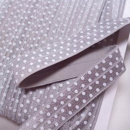 Polka Dot Fold Over Elastic :: Light Grey