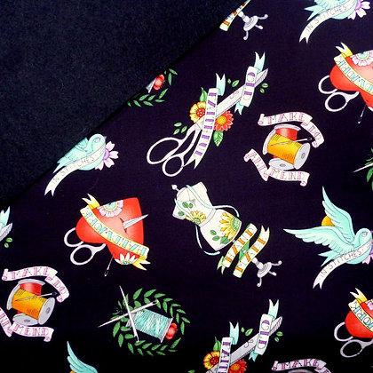 Fabric Felt :: Born to sew Tattoos on Black LAST FEW