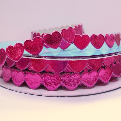 Cut Out Ribbon :: Flat Hearts :: Fuchsia