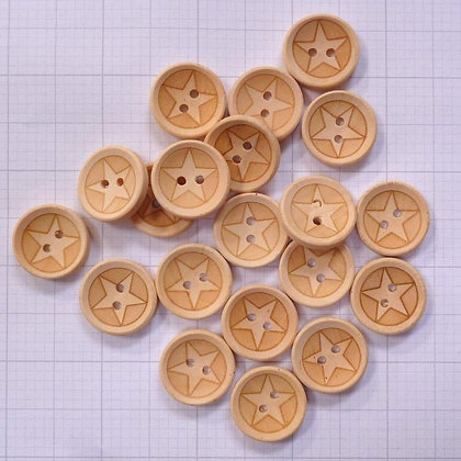 Wooden Button Pack :: Inlaid Stars
