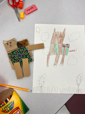 Kindergarten Cardboard Character Sculpture and Drawing - 2D and 3D Comparison