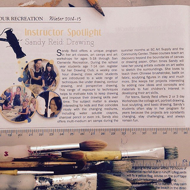 San Clemente Recreation Department Article about Sandy Reid Art Instructor