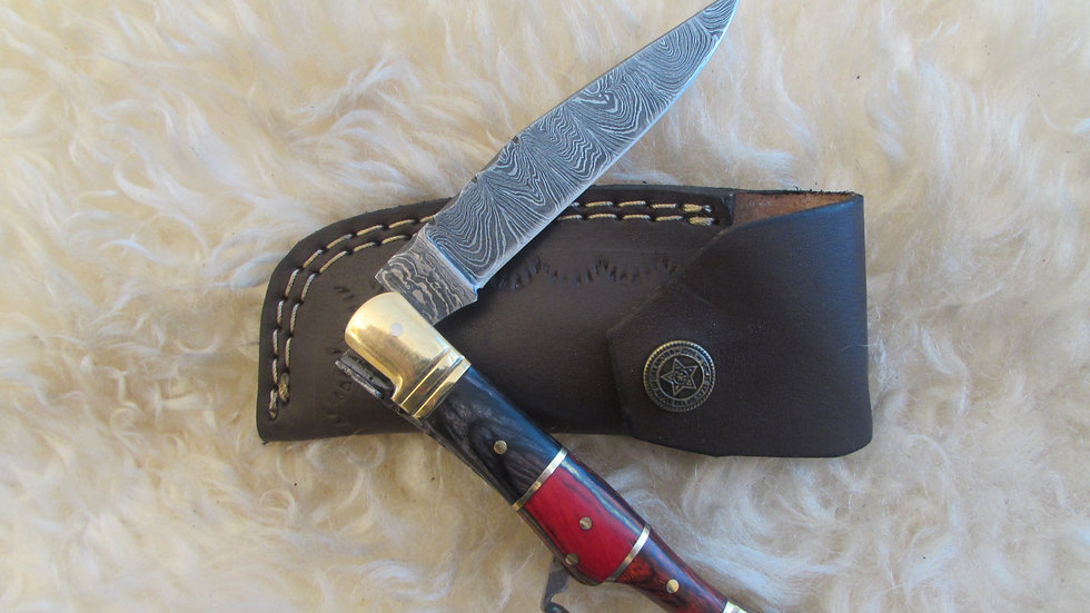 Damascus steel pocket knife with corkscrew (S(27)