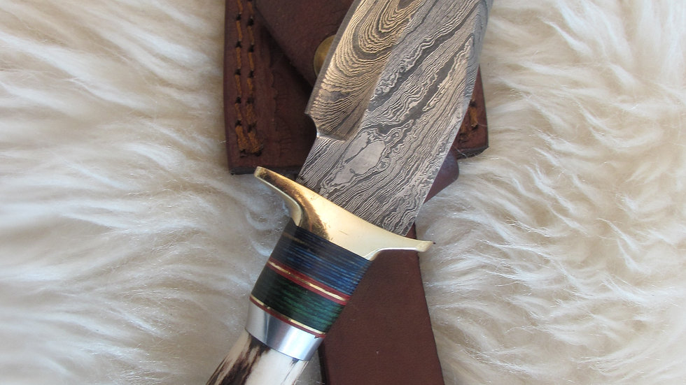 Damascus steel stag horn handle knife (A9)