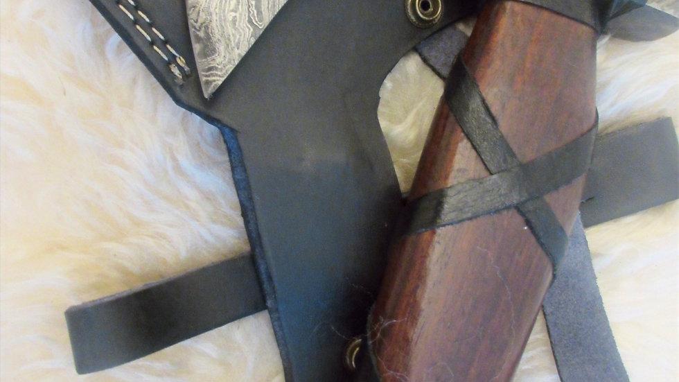 Bearded axe, heavy Damascus steel (ND12)