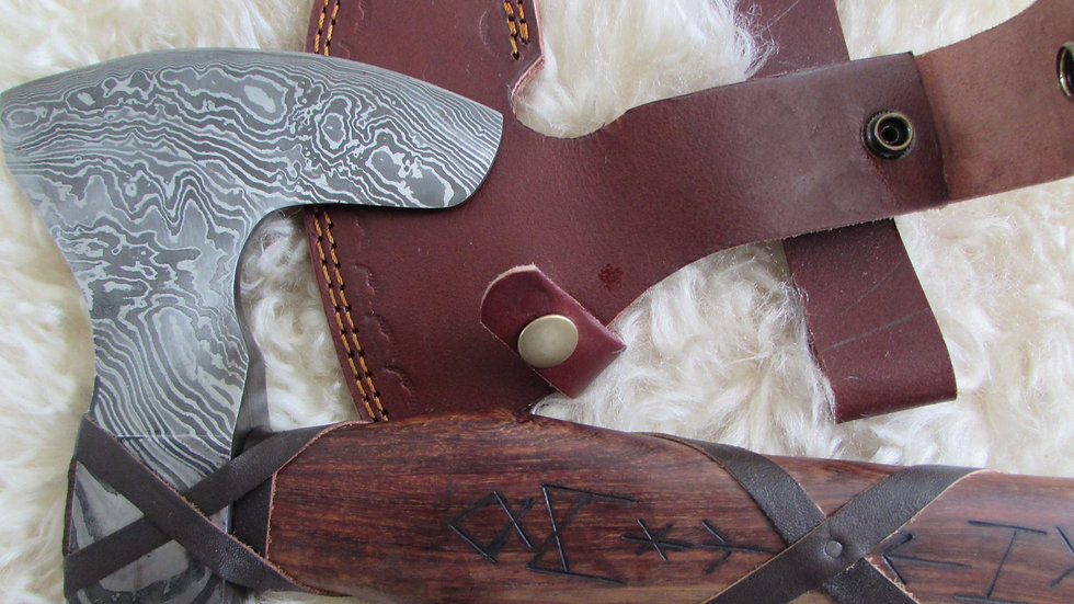 Damascus steel axe with Viking runes (DM34)