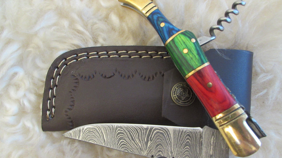 Damascus steel pocket knife with corkscrew (S40)