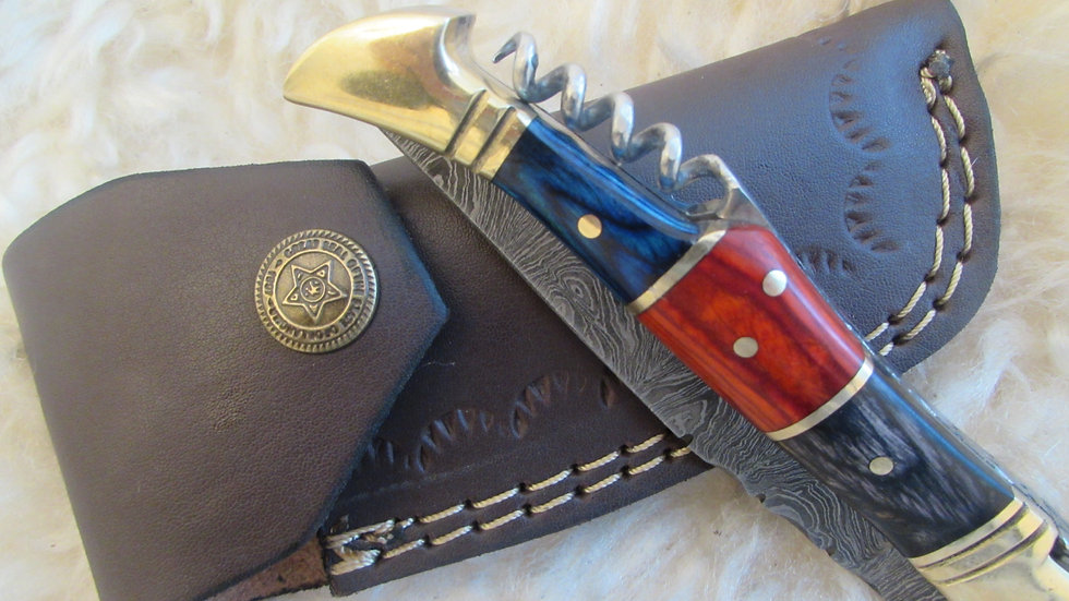 Damascus steel pocket knife with corkscrew (S24)