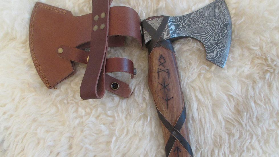 Viking Rune handle Damascus steel axe (DM22)