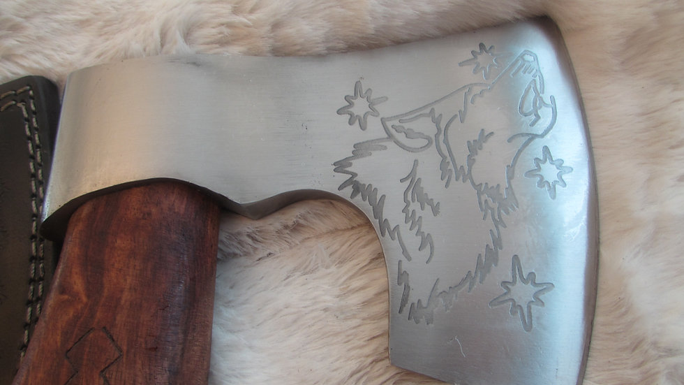 Howling wolf bearded axe with rune handle