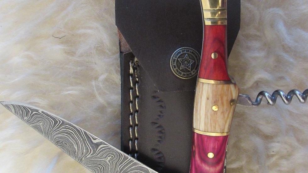 Damascus steel pocket knife with corkscrew (S39)