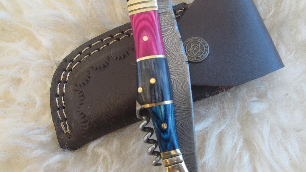 Damascus steel pocket knife with corkscrew (S28)