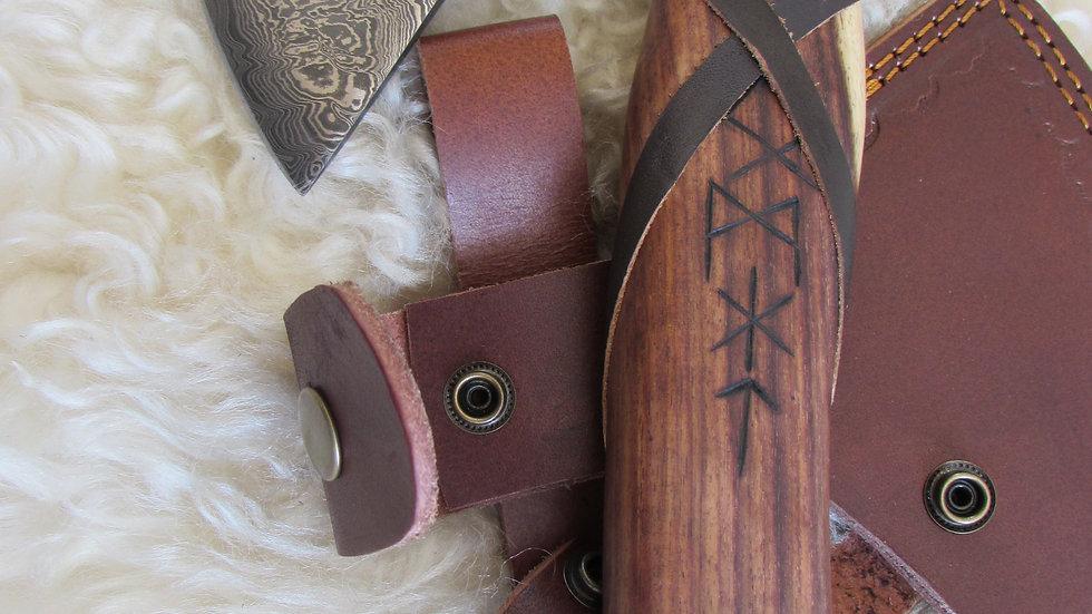 Damascus steel axe with Viking runes (DM35)