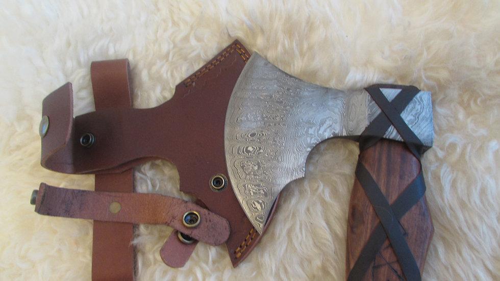 Rune handle Damascus steel axe (DM4)