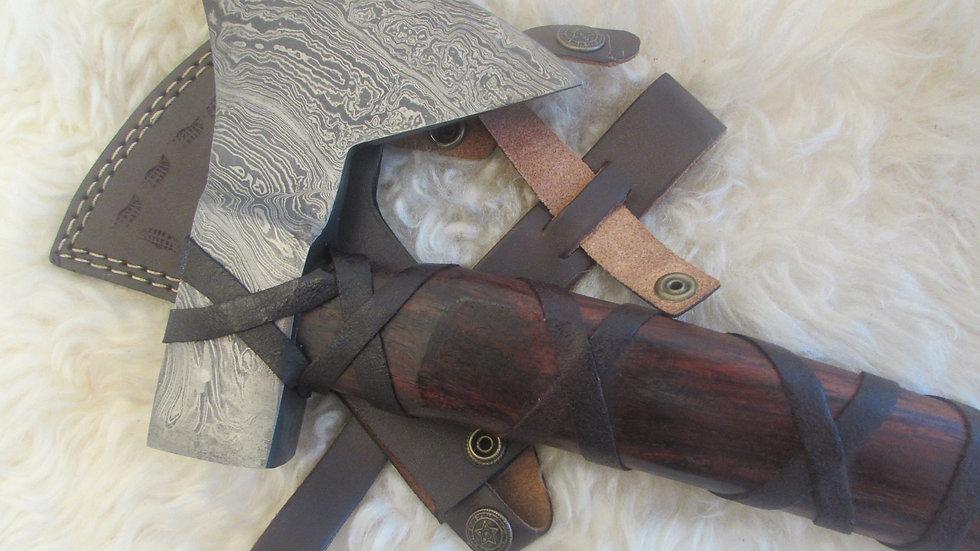 Bearded Axe, heavy Damascus steel (ND7)