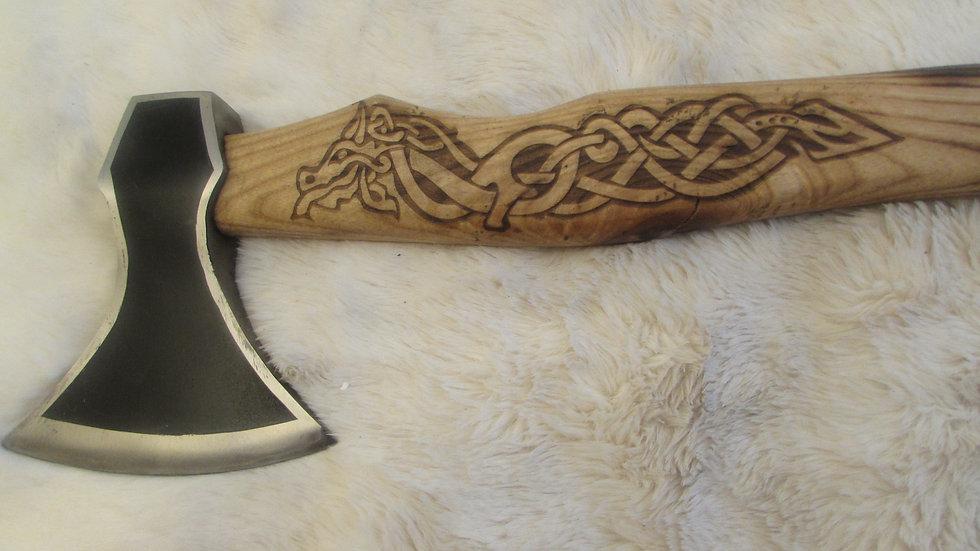Jormungandr the serpent carved handle axe