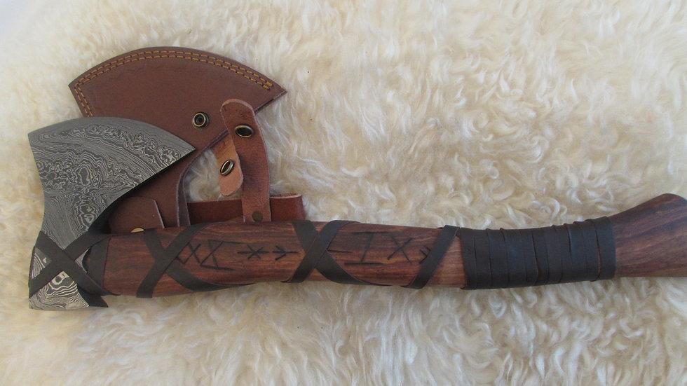 Viking Runes handle Damascus steel axe (DM14)