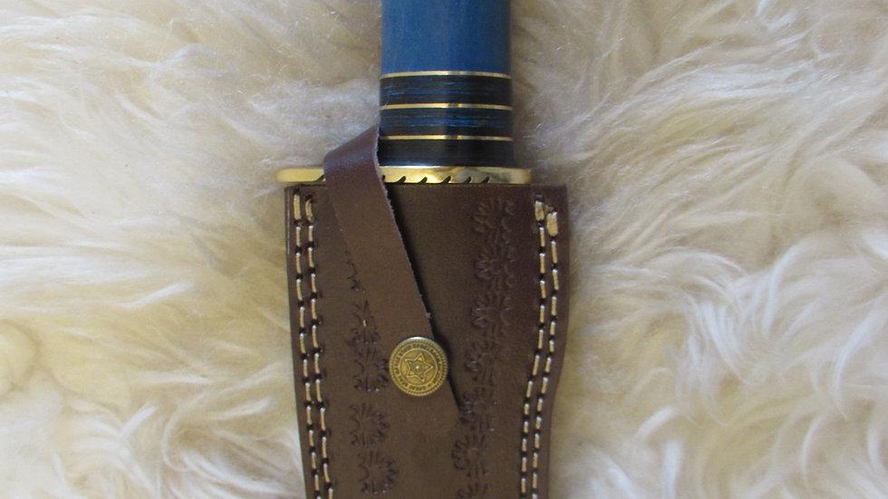Damascus steel blue handle knife D10