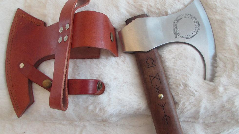 Jormungandr with runes Viking axe