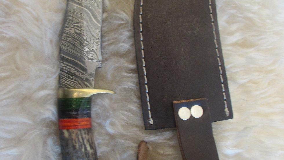 Damascus steel elkhorn knife (EH1)